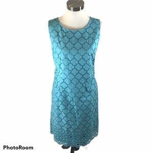 Talbots blue/green Sleeveless Eyelet Sheath Dress